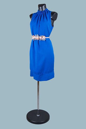 Летнее ярко синее платье миди. Италия. 100% лиоцелл. Размер: 42-48.
