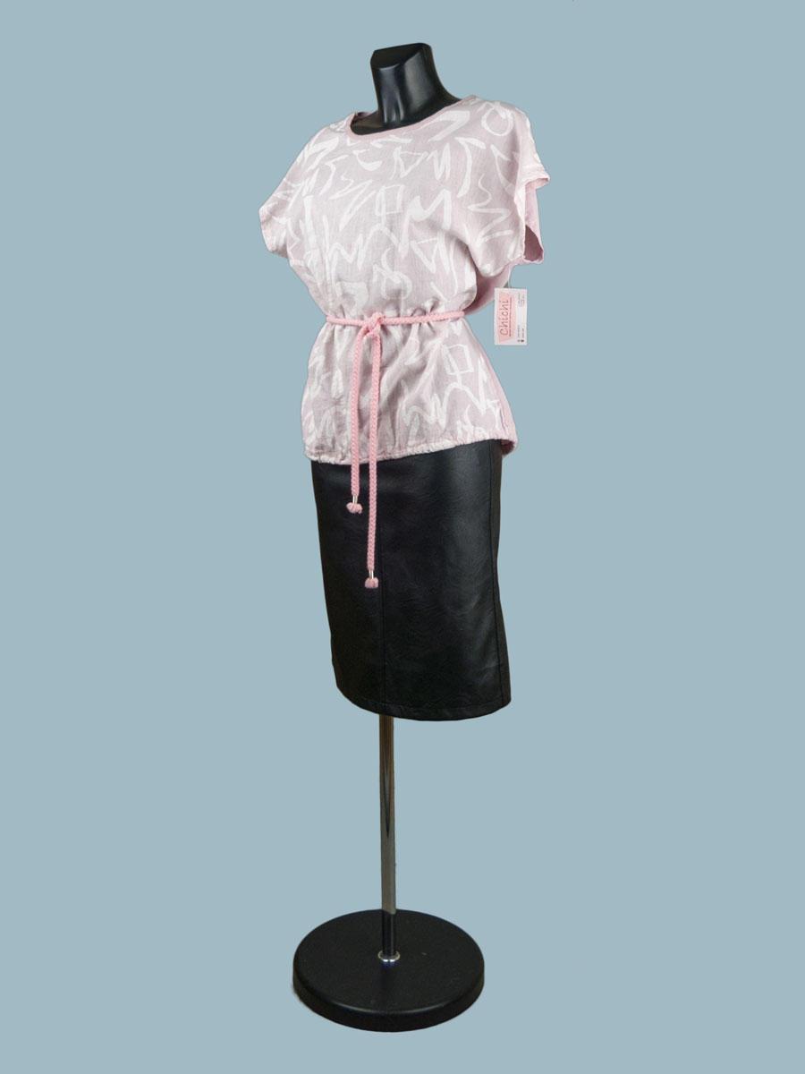 Короткая льняная блузка с рисунком розовая