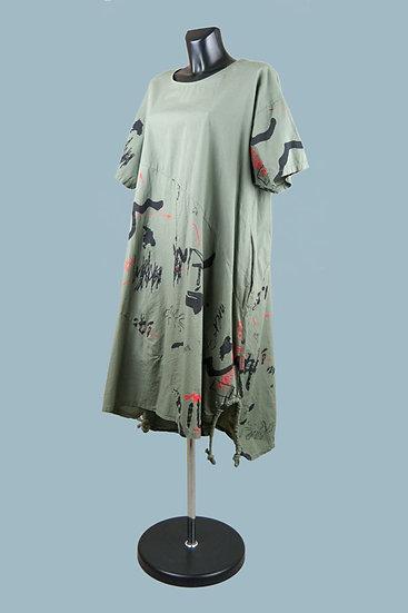 Летнее платье бохо хаки. Хлопок.Польша.Размер: 50-56