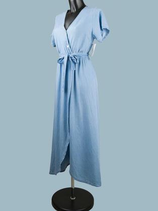 Платье голубое миди с запахом 2285