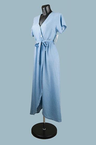 Летнее платье миди с запахом голубое. Размер: 44 -50. Италия. 100% лиоцелл