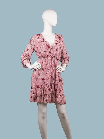 Платье  шифоновое  с запахом розовое с цветами
