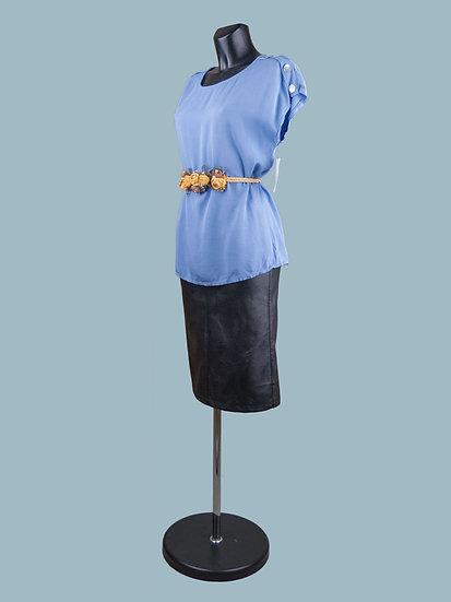 Летняя блузка со спущенным коротким рукавом джинсовая