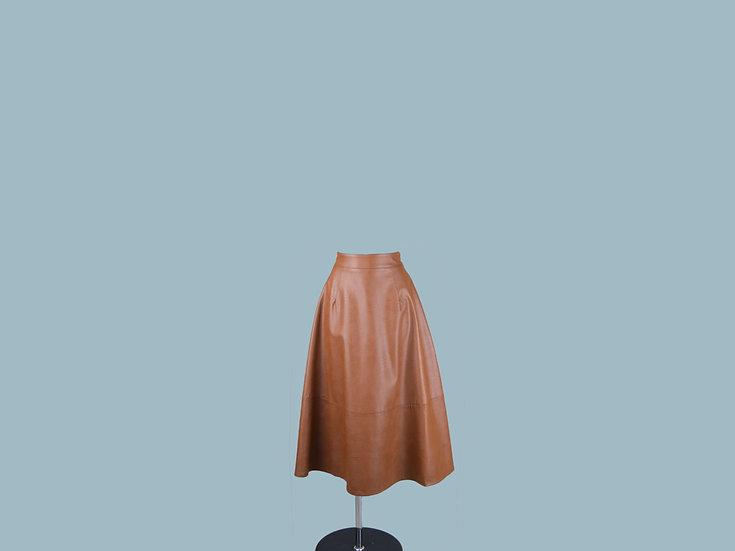 Юбка из экокожи коричневая  246852