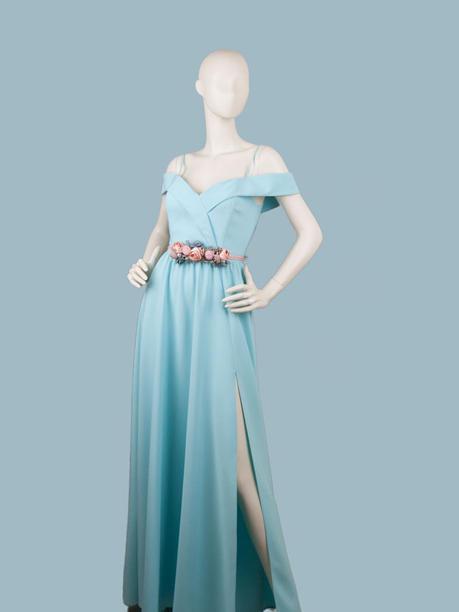 Вечернее платье в пол  голубое 1757