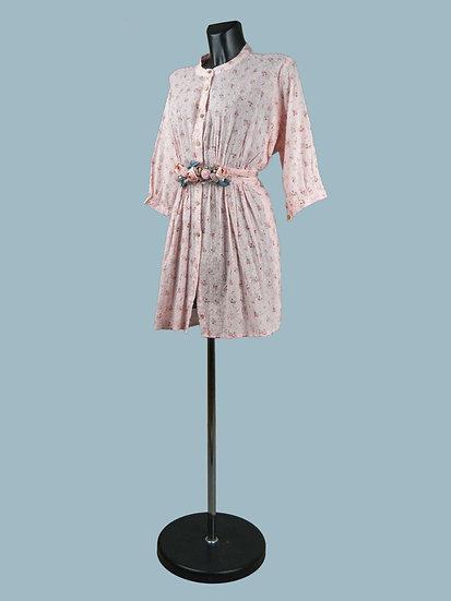 Платье- халат с цветочным принтом розовое | chichi