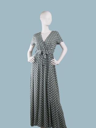 Длинное платье в  белый горошек с запахом зеленое