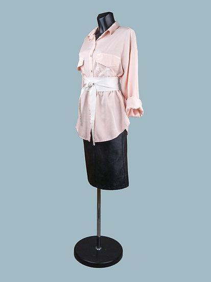 Удлиненная рубашка персиковая