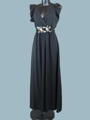 Длинное платье летнее с запахом черное
