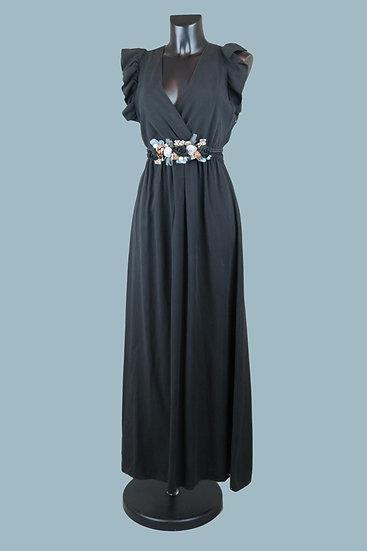 Летнее длинное нарядное платье с вырезом запах черное. Размер: 42-50. Италия. 100% лиоцелл