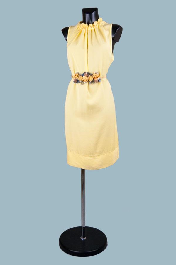 Платье миди желтое