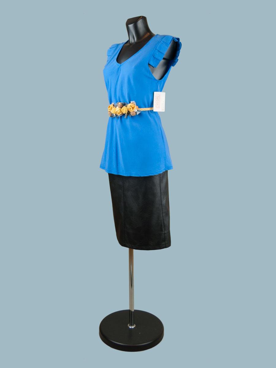 Летняя блузка без рукавов с крылышками ярко синяя