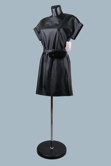 Модное платье из экокожи черное 2020 (8)