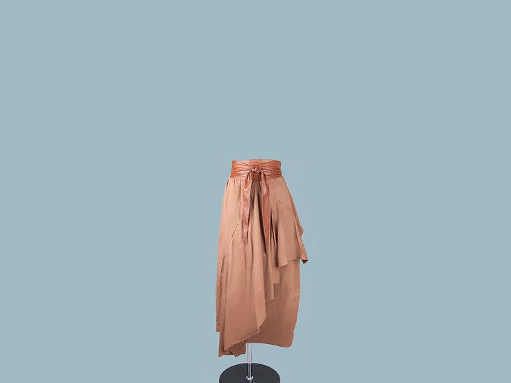 Юбка  коричневая  ассиметричная