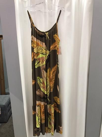 Сарафан длинный коричневый с цветами