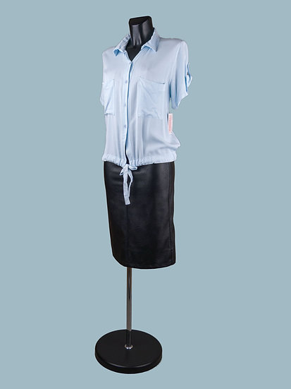 Летняя короткая блузка с коротким рукавом голубая