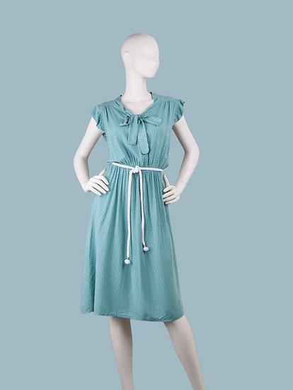 Летнее платье с бантомв горошек мятное. Италия. Вискоза. Размер: 42-48