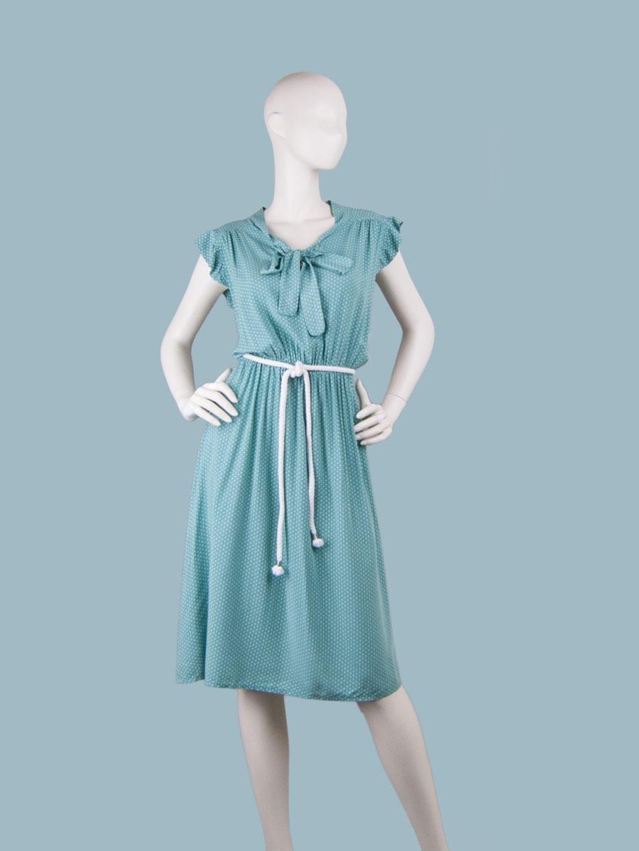 Платье с бантом в горошек мятное
