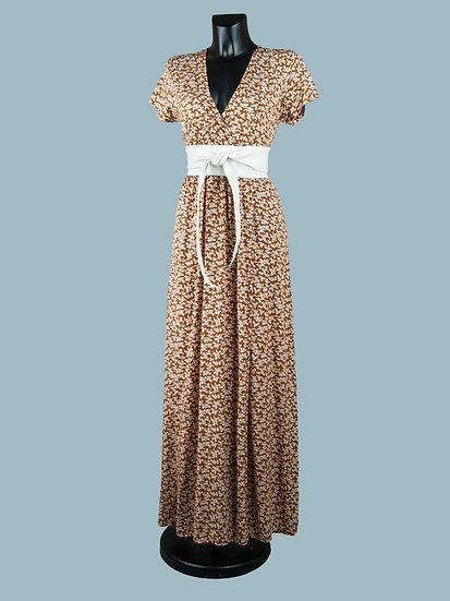Коричневое длинное летнее платье с запахом   chichi