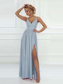 Вечернее платье в пол  голубое 1758