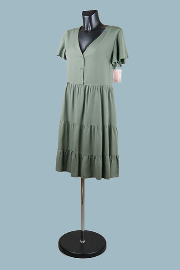 Летнее платье с оборками хаки. Италия. Лиоцелл. Размер: 44-48