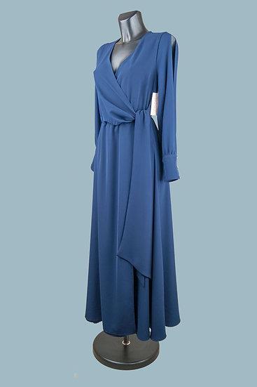 Нарядное платье макси синее. На рукавах разрезы. Польша. Размер: 44-48