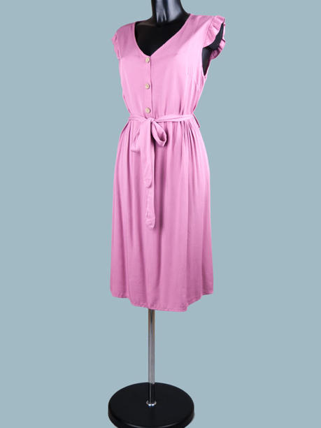Платье летнее на пуговицах малиновое