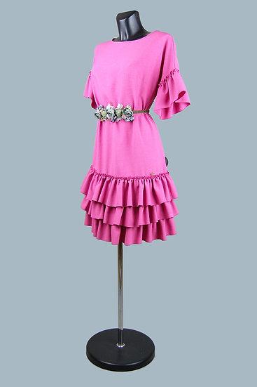 Нарядное платье с оборками фуксия. Польша. Размер: 44-48.