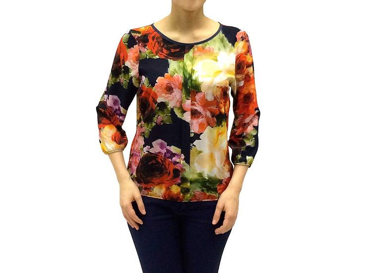 Нарядная блузка с ярким цветочным рисунком 100108
