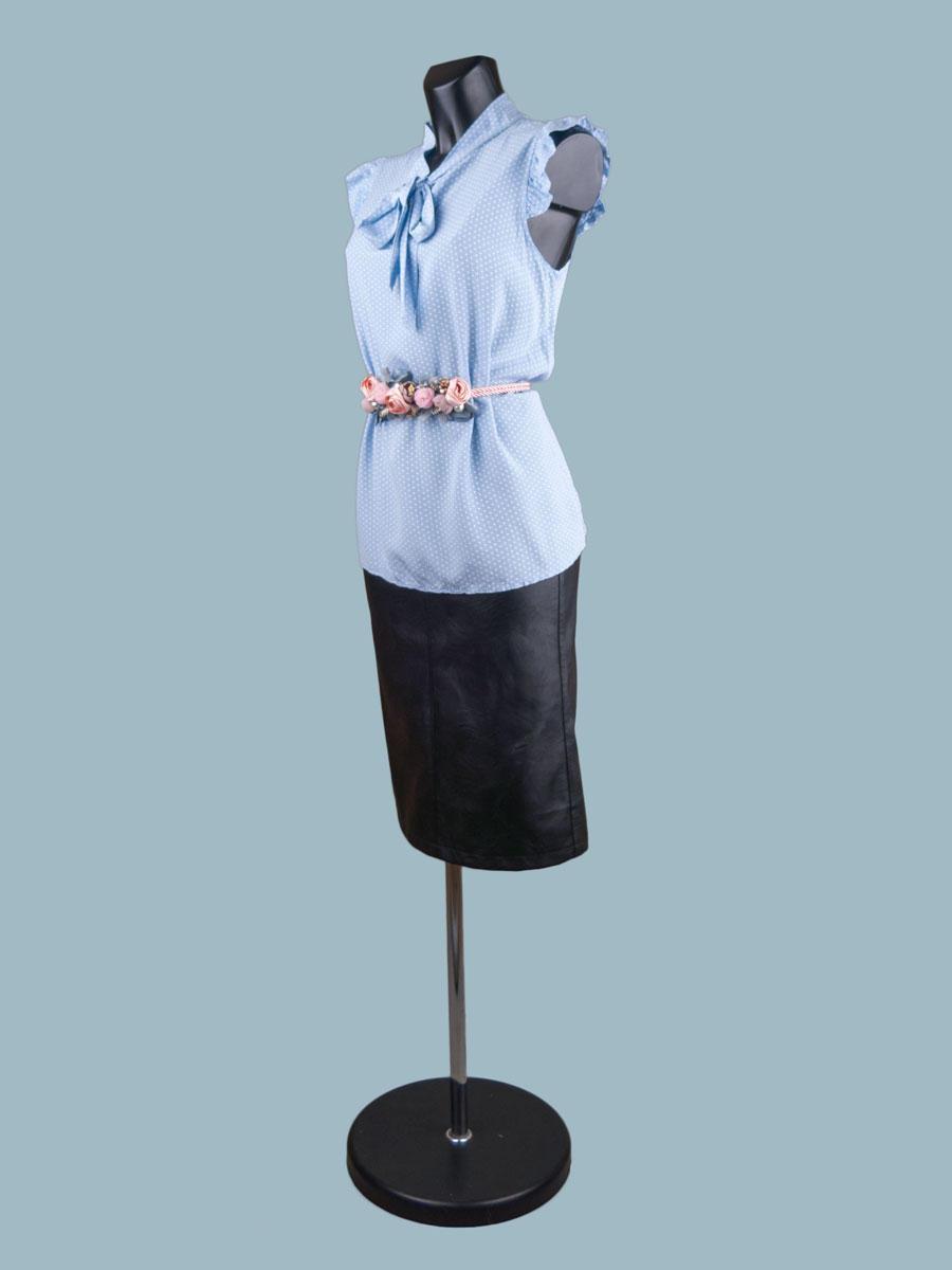Летняя блузка с бантом голубая в горошек