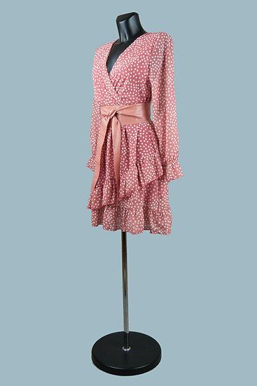 Шифоновое платье на подкладке с запахомкоралловоев горох. Италия. Размер: 42-48