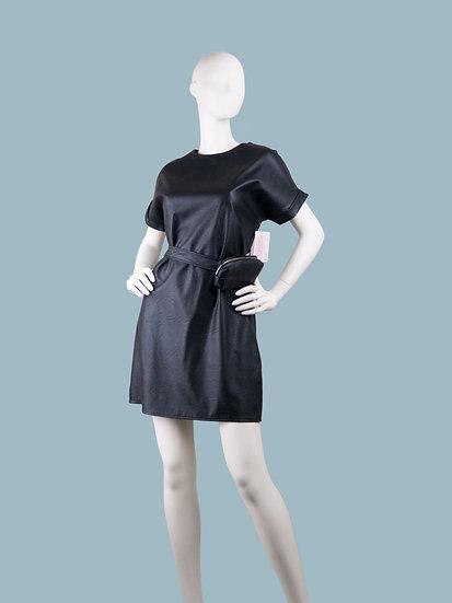 Платье короткое кожаное черное