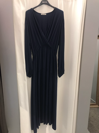 Платье свободное с запахом синее