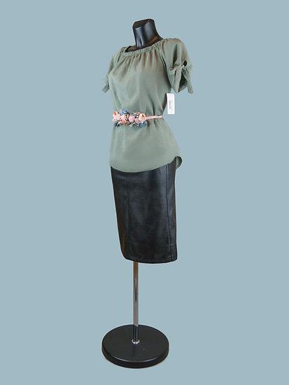 Летняя блузка с коротким рукавом хаки