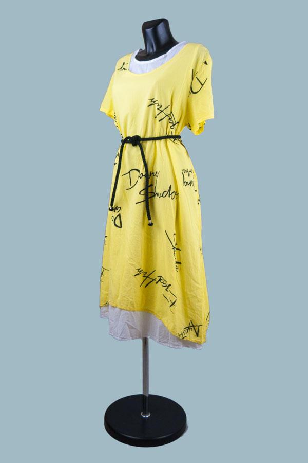 Платье летнее бохо желтое 2313