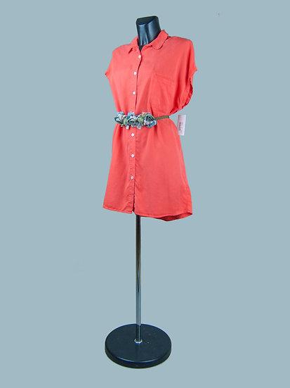 Платье- рубашка короткое оранжевое