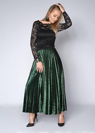 Плиссированная юбка бархатная длинная (3 цвета)