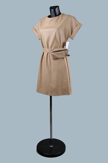 Кожаное бежевое платье- купить в магазине Chichi  Королев Гелиос