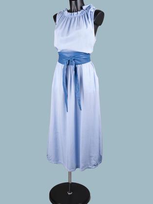 Платье макси голубое