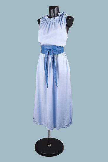 Длинное летнее голубоеплатье. Италия. 100% лиоцелл. Размер: 44-52