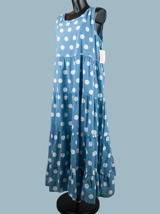 Платье летнее длинное в крупный  горох голубое
