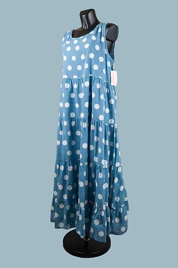Свободное платья А- силуэтголубое. Крупный горох. Италия.Размер: 50-54. Хлопок