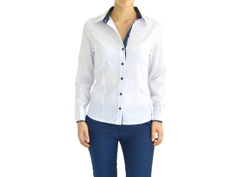 Блуза белая  с синими пуговицами 121701
