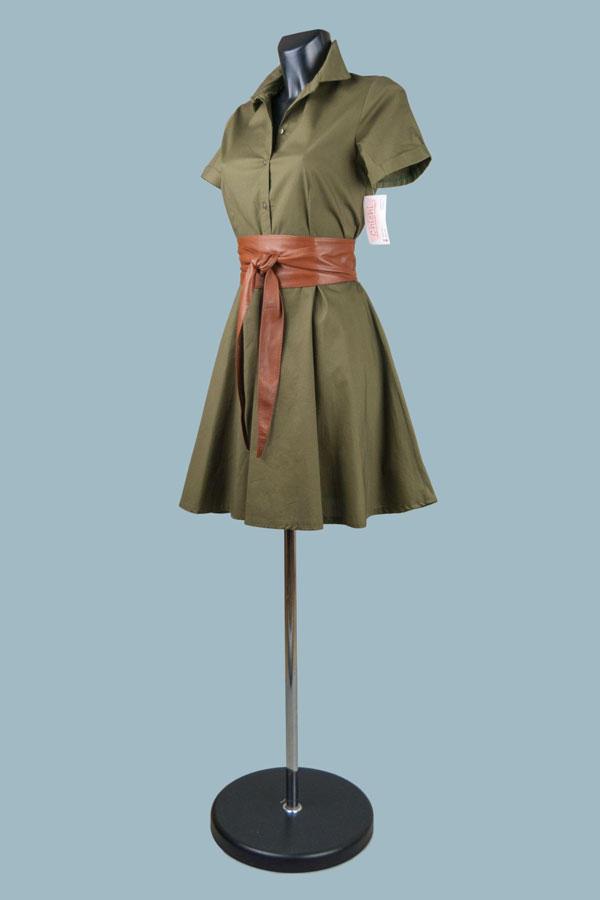 Платье летнее сафари  короткое хаки
