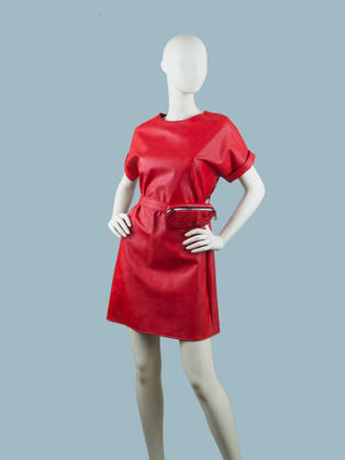 Платье  кожаное красное 25070410