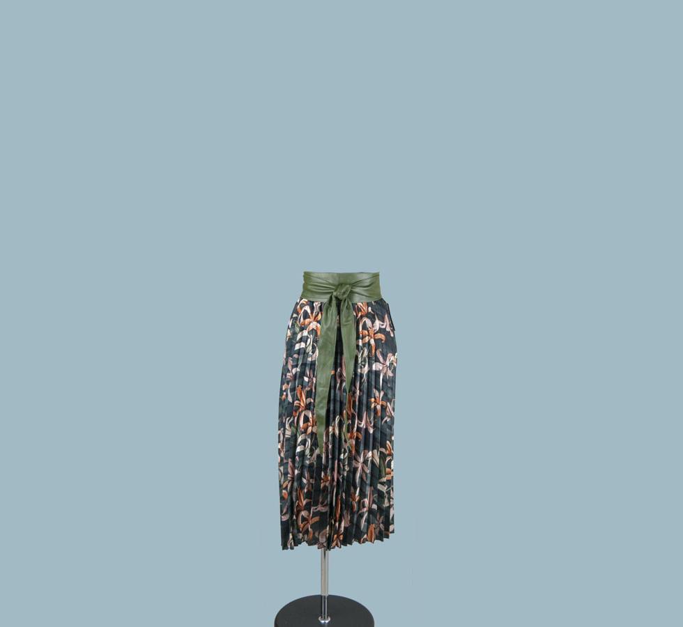 Юбка плиссированная  серая с рисунком 24580010