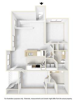 2 Bedroom 2 Bath Loft 3D Floor