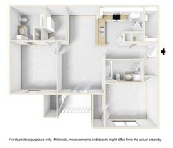 2bed2bath 3D Floor