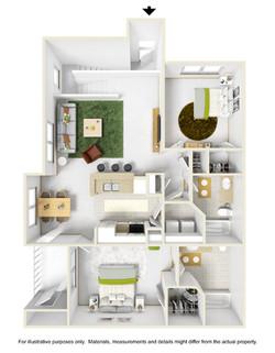 2 Bedroom 2 Bath Loft 3D Furnished