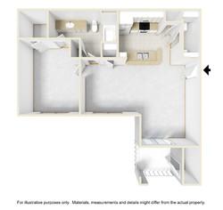 1bed1bath 3D Floor